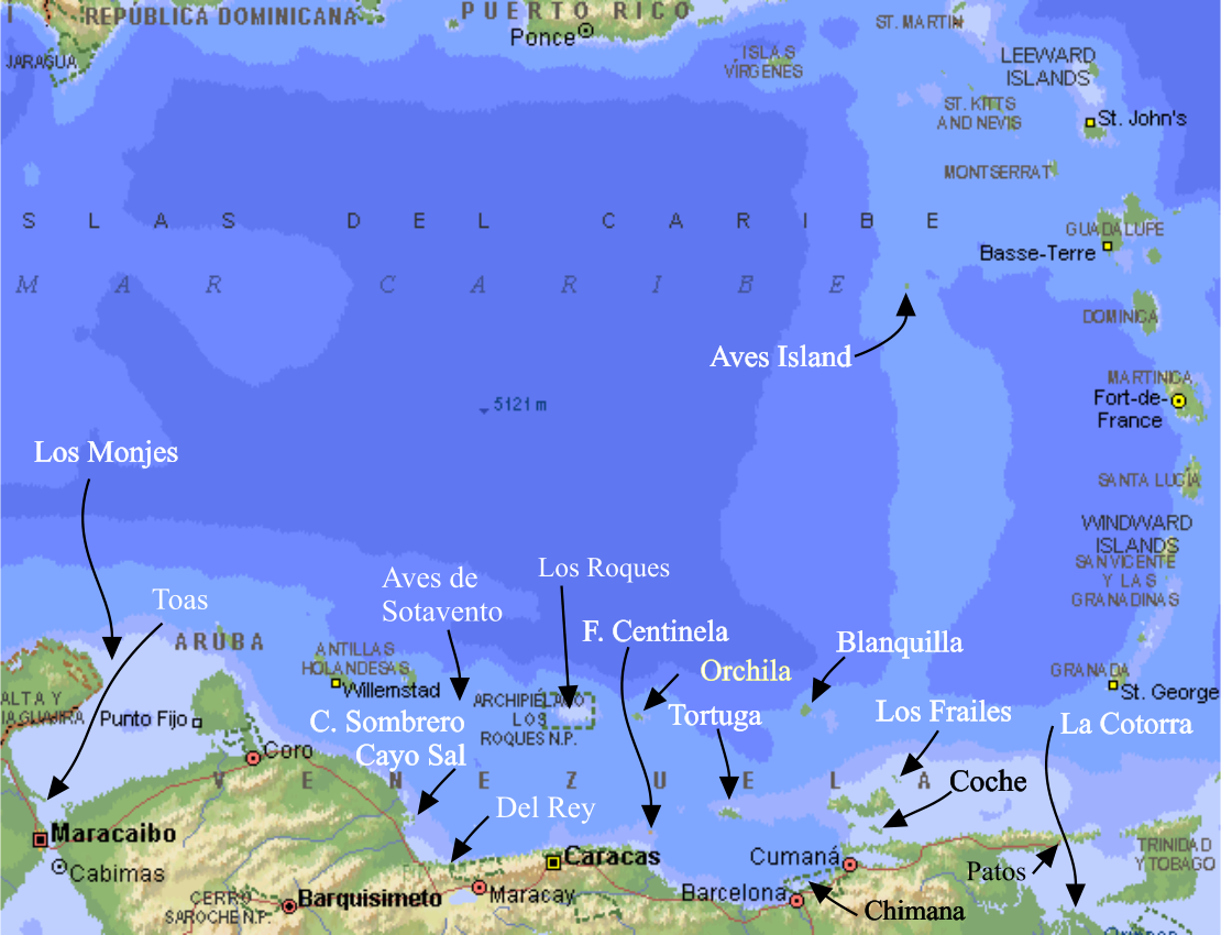South-eastern Caribbean map